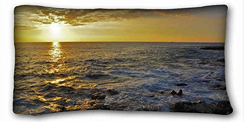 """Custom Characteristic ( Landscapes sunset sea Rocks landscape ) Zippered Body Pillow Case Cover Size 20""""X36"""" suitable for Full-bed PC-Green-21731"""