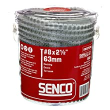 Senco 08D250W DuraSpin Screw Number 8 by 2-1/2-Inch All Purpose Exterior Wood Collated Screw (800 per Box)