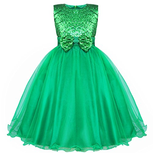 iEFiEL Girls Ball Party Princess Dance Flower Dress Green 7-8