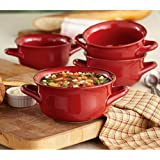 Set of 4 Fireside Soup Bowl with Handles- Red Color