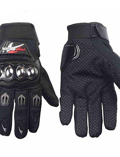 PRO-BIKER Professional Skid-Proof Full Finger Stainless Steel Motorcycle Racing Gloves , black-m , black-m