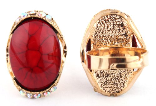 Ladies Gold with Red Oval Abstract Pattern Center with Surrounding Clear AB Stones Metal Adjustable Finger Ring