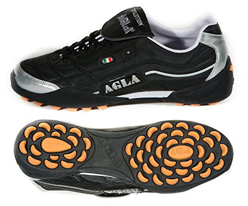 AGLA PROFESSIONAL EVOLUTION TOP 2 EXE OUTDOOR BLACK scarpe calcetto calcio a 5 (EUR 40.5)
