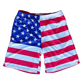 American Flag Sublimated Lacrosse Shorts by Tribe Head Lacrosse