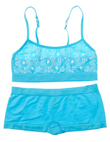 Cotton Cantina Big Girls Training Bra and Boyshort Set (One Size, Sky Blue/Love Clouds)
