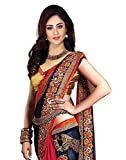 Winza Designer Womens Georgette Saree (Wedding new latest stylish - collection_Navy blue and red)