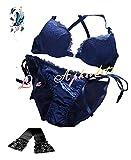 La Aphrodite[ラ・アプロディーテー]ひもパン ブラ セット ブラジャー 紐パンセクシー ランジェリー 下着 レディース レース ショーツ パンティ パンツ 透け かわいい+タトゥーシールの4点セット!! (75B, ブルー)