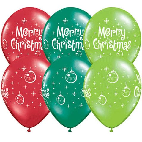 "11"" Merry Christmas Ornaments Latex Balloons (10 per package) - 1"