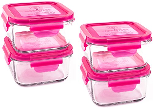 Wean Green Lunch Cubes Glass Food Containers - Raspberry (4 Pack) - 1