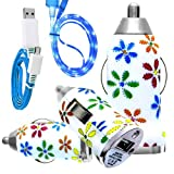 CellBig Introduces Brand New Vehical Travel iN Car Charger Adapter Compact Bullet / Capsule Shaped With Beautiful Daisy Flower Print Included Blue LED Visible Flat Micro USB Synchronize Data Cable Lead Suitable For BlackBerry Bold 9650 / 9700 / 9780 / 97