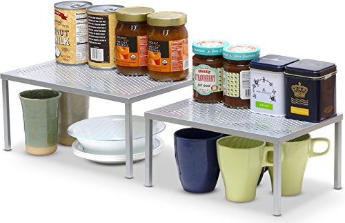 SimpleHoueware Expandable Stackable Kitchen Cabinet and Counter Shelf Organizer, Silver (Kitchen Cabinets With Shelves compare prices)