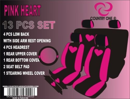 UNIVERSAL CAR SEAT COVERS FOR LOW BACK BUCKETS 13PCS SET WITH STEERING WHEEL & SHOULDER PADS FOR 2-ROWS IN 2-TONE WITH PRINTED PINK HEART