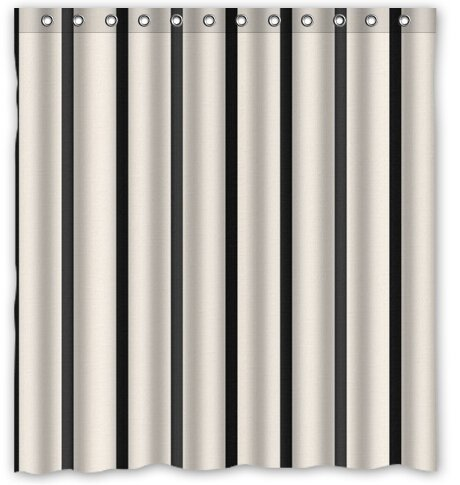 "Outer-space BravoVision Custom Classical White and Black Piano Color Vertical Stripes Waterproof Bathroom Shower Curtain 66""x 72"" by Bravo Vision"
