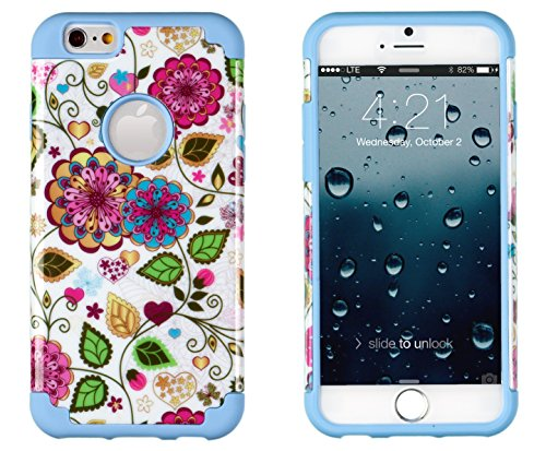 """Iphone 6, Dandycase 2In1 Hybrid High Impact Hard Colorful Spring Flowers Pattern + Sky Blue Silicone Case Cover For Apple Iphone 6 (4.7"""" Screen) + Dandycase Screen Cleaner"""