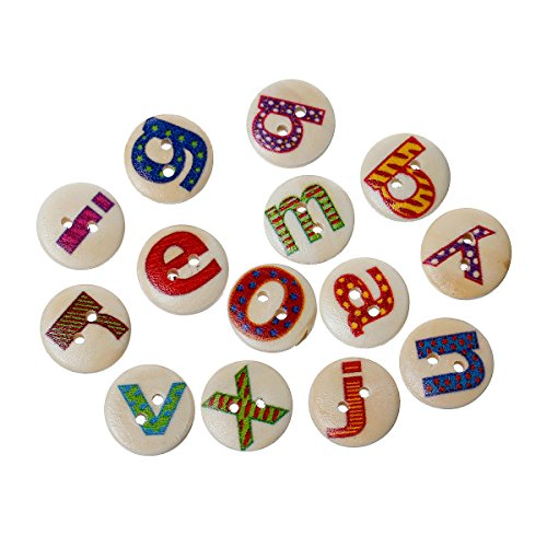 Rockin Beads Brand, 180 Wood Rockin Beads Sewing Buttons Scrapbooking Mixed Alphabet/letter