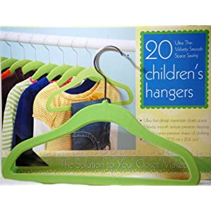 20 Green Velvety Smooth Textured Childrens Hangers