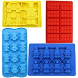 Anfimu Set of 4 Candy Chocolate Cookie Making Molds & Ice Cube Trays - Including One Lego Building Bricks,one Large Size Mini Figure Mold and Two Small Sizes - For Lego Lovers