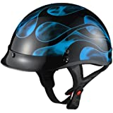 GLX Blue Flame Motorcycle Half Helmet (Small)