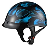 GLX Blue Flame Motorcycle Half Helmet (Large)