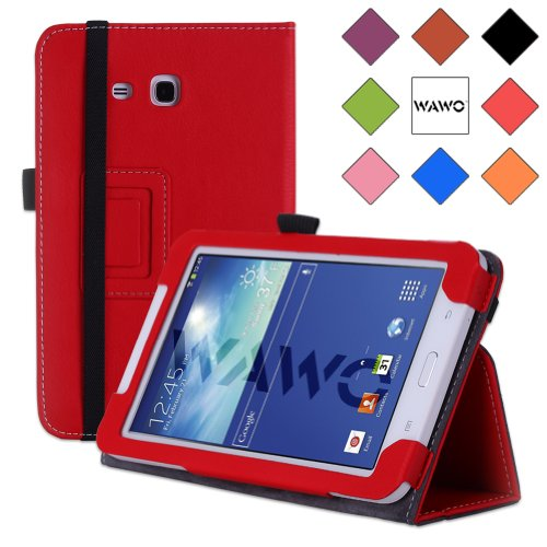 Wawo Samsung Tab 3 Lite 7.0 Inch Tablet Folio Case Cover - Red