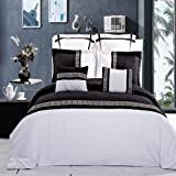 DUVET COVER SET KING/CALIFORNIA KING ASTRID BLACK/WHITE EMBROIDERED 7 PIECE over Set