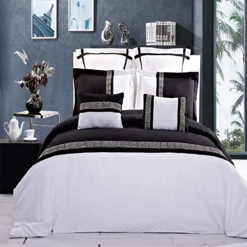 13-Pc California King Size Astrid Black With White Embroidered Royal Hotel Collection Bed In A Bag Including Duvet Cover Set+ Bed Skirt+Down Alterntaive Comforter+ Sheet Set 100 % Egyptian Cotton front-1031794