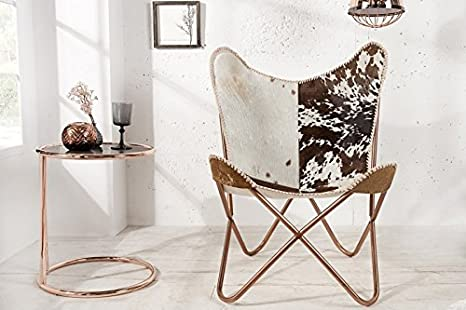 Casa Padrino real fur designer armchair Brown / White - Relax cowhide chair