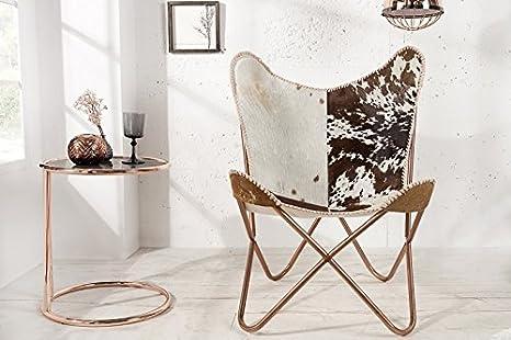 Casa Padrino real fur designer armchair Brown / White - Relax cowhide chair