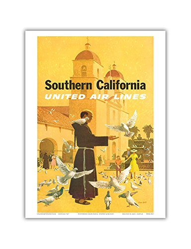 southern-california-united-air-lines-spanish-mission-padre-feeding-birds-vintage-airline-travel-post