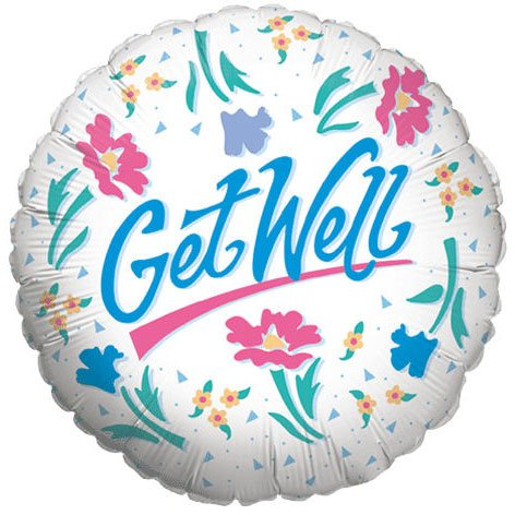 "Mylar Foil Balloon 18"" Round Get Well Soon Gift Ideas White Floral Confetti Blue - 1"