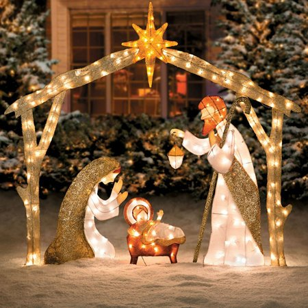 6 Ft Tall Elegant Pre Lit Nativity Scene Display Sculpture Glittering Tinsel Yard Outdoor Decor Holiday Christmas Lighted Decoration