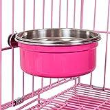 TaoKing 食器 犬用猫用 餌やり 水やり ステンレスペット用ゲージ 吊りボウル 930ml ピンク