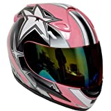 Motorcycle Street Bike Pink Star Full Face Adult Helmet