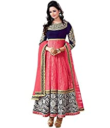Jay Varudi Creation Women's Pink Brasso Embrodred Semi-Stiched Dress Materials ( Free Size )