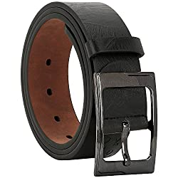 Comfort Zone India Black Textured Men's Belt