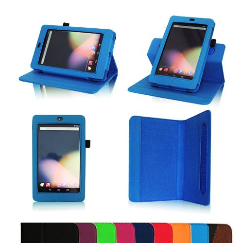 Fintie Dual-View Multi Angle (Blue) Leather Folio Case Cover for Google Nexus 7 Tablet (Auto Wake/Sleep Feature) -9 Color Options:Black,Green,Blue,Orange,Red,Navy, Pink,Purple,Dual