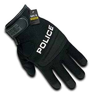Rapdom Tactical Police Digital Leather Gloves, Black, Small