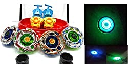 Sunshine 4 BIG Metal Beyblades with LED Lights, 4 Launchers, 1 BIG STADIUM, 2 Spring Action Launchers