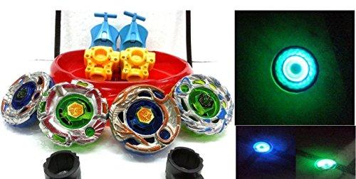 Sunshine-4-BIG-Metal-Beyblades-with-LED-Lights-4-Launchers-1-BIG-STADIUM-2-Spring-Action-Launcher