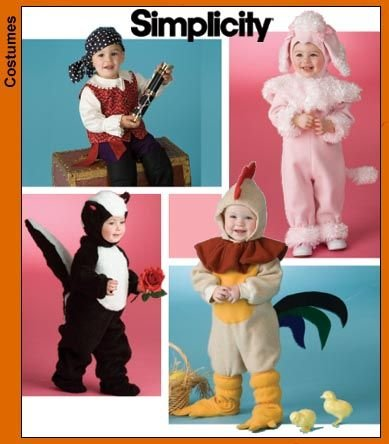 [Simplicity Costume Pattern Infants and Children Rabbit Skunk, Chicken, Pirate Size A 1/2,1,2,3,4] (Rabbit Costume Pattern)