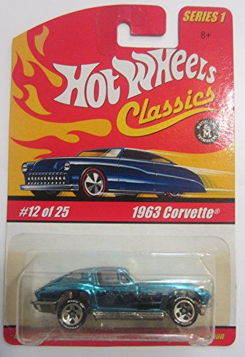Hot Wheels Classics Series 1 - Blue 1963 Corvette 12 of 25 - 1