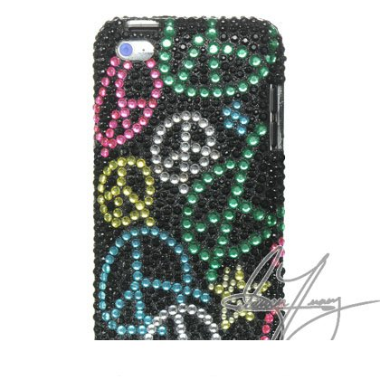 Art Series Bling Luxurious Design Crystal Snap-on Case for Apple iPod Touch 4, 4G, 4th Generation, 4th Gen - Rainbow Peace Sign