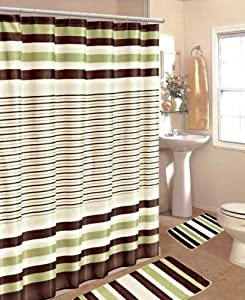 15PC SAGE BROWN STRIPE BATHROOM BATH MATS SET RUG CARPET SHOWER CURTAIN HOOKS
