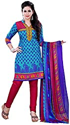 Swaman Women's Synthetic Dress Material(0729LAD00025,Blue)
