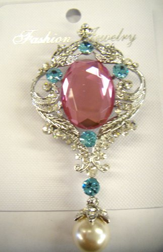 Big Pink Crystal style Brooch with pearl drop