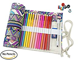 CreooGo Canvas Pencil Wrap, Travel Drawing Coloring Pencil Roll Organizer For Artist, Pencils Pouch Case Hold For 72 Colored Pencils (Pencils are NOT INCLUDED)-Bohemian,72 Holes