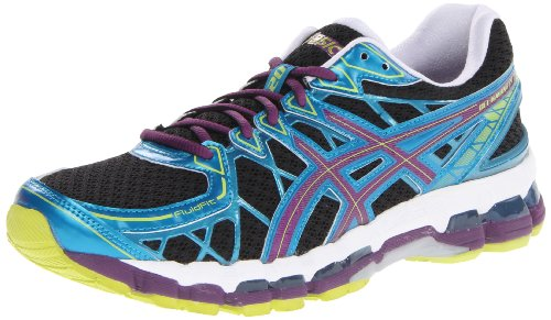 ASICS Women's Gel Kayano 20 Running Shoe,Black/Plum/Blue,8.5