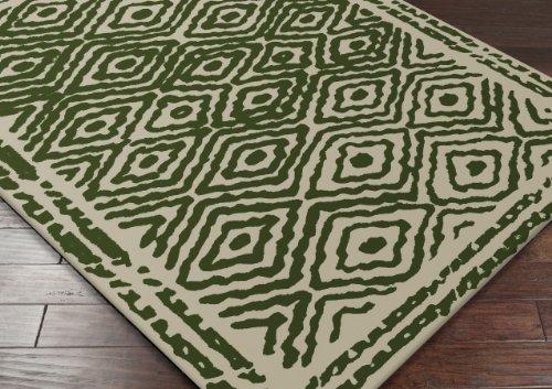 Surya ATS1009 Atlas Transitional Hand Woven 100% Wool Green Rug (8-Feet x 11-Feet )