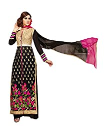 Amyra Women's Georgette Dress Material (AC794-03, Black)