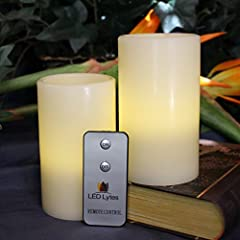 LED Lytes Real Wax Battery Operated Flameless Pillar Candles And On/Off Remote ~ Set Of 2 - 3 Inches x 5 Inches ~ Ivory Colored Wax With A Soft Pale Yellow Flame ~ Weddings, Parties, Mother
